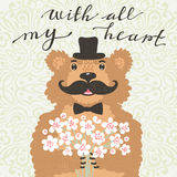 With all my heart. Hipster bear with a bouquet of flowers. Vintage card in cartoon style. Royalty Free Stock Photo