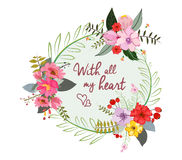 With all my heart. Stylish floral card in bright summer colors. Romantic card Stock Images