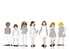 All nation girl. All nation cute teenager cartoon girls on white background royalty free illustration
