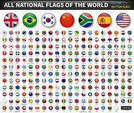 Free All National Flags Of The World . Circle Convex Button Design . Elements Vector Royalty Free Stock Photos - 130600668