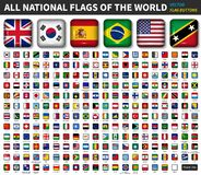 Free All National Flags Of The World . Shiny Convex Round Angle Square Button Design . Elements Vector Stock Photography - 140445142