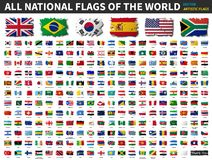 All national flags of the world . Artistic watercolor painting flat design . Vector vector illustration