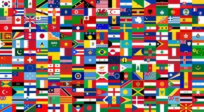 All national flags of the world . Background style stock illustration