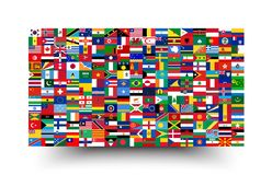 All national flags of the world . Background style vector illustration
