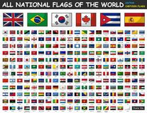 All national flags of the world . Cartoon style royalty free illustration