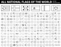 All national flags of the world . Outline shape design . Editable stroke vector . stock illustration