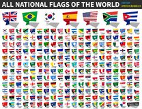 All national flags of the world . Speech bubbles design . Vector stock illustration