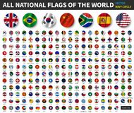 All national flags of the world . Waving circle flag design . Vector vector illustration