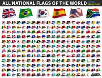 All national flags of the world . Waving flag design . Vector vector illustration
