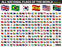 All national flags of the world . Waving flag design . Vector royalty free illustration