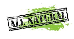 All natural black and green stamp on white background. All natural black and green  stamp Stock Photo