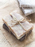 All natural handmade baobab and chocolate soaps Royalty Free Stock Image