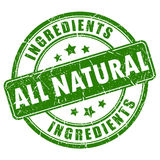 All natural ingredients vector stamp vector illustration