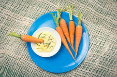 All-natural raw carrots and buttermix Stock Images