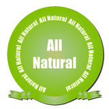 All Natural Seal. A green gradient seal with All Natural text and ribbon Stock Images