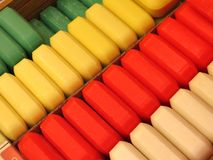 All-Natural Soaps. Rows of colourful bars of soap made with natural ingredients stock image