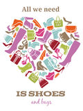 All we need is shoes. Womens shoes sign in shape Royalty Free Stock Photo