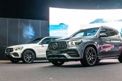All new Mercedes AMG GLE 53 4Matic+, Fourth generation, W167, GLE-Class midsize luxury SUV produced by Mercedes-Benz royalty free stock images