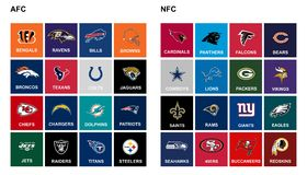 NFL teams. All NFL teams on white background Royalty Free Stock Image