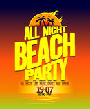 All night beach party design. vector illustration