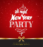 All night New Year Party design poster template. Vector illustra Royalty Free Stock Photo