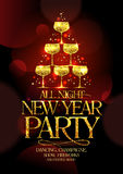 All night New Year party poster with chic golden headline and golden stack of champagne glasses. Royalty Free Stock Photos
