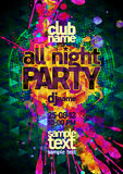 All night party abstract poster mock up, polygon and  vibrant blots Royalty Free Stock Photo