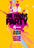 All Night Party design template. Royalty Free Stock Photography