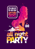 All Night Party design template. Stock Photos