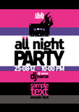 All Night Party design template. Stock Photo