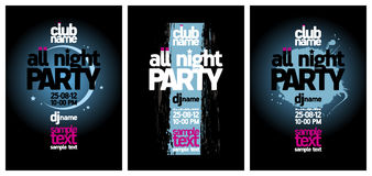 All Night Party design templates. Royalty Free Stock Photo