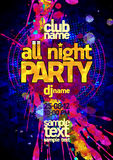 All night party poster concept, vibrant pink and yellow blots, modern text Royalty Free Stock Photography