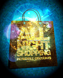 All night shopping sale design with gold crystal shopping bag Royalty Free Stock Photos