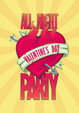All night Valentine party design with burning heart. Stock Photo