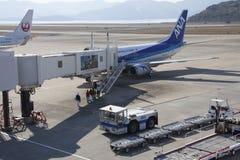 All Nippon Airways (ANA) airplane. 19 dec 2015 Airport Nagasaki. Japan. All Nippon Airways (ANA) airplanes in airport of Nagasaki (NGS), Omura Stock Image