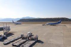 All Nippon Airways ANA airplane. 19 dec 2015 Airport Nagasaki. Japan. All Nippon Airways ANA airplanes in airport of Nagasaki NGS, Omura Stock Photo
