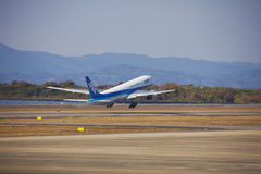 All Nippon Airways (ANA) airplane. 19 dec 2015 Airport Nagasaki. Japan. All Nippon Airways (ANA) airplane in airport of Nagasaki (NGS), Omura Stock Images