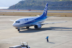 All Nippon Airways (ANA) airplane. 19 dec 2015 Airport Nagasaki. Japan. All Nippon Airways (ANA) airplane in airport of Nagasaki (NGS), Omura Stock Photos