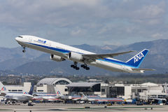 All Nippon Airways ANA Boeing 777 flygplan som tar av från Los Angeles den internationella flygplatsen Royaltyfri Bild