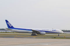 All Nippon Airways Boeing 777 taxing in JFK Airport in NY Stock Photo