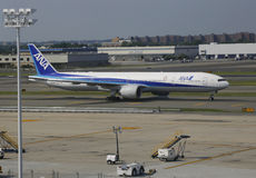 All Nippon Airways Boeing 777 taxing in JFK Airport in NY Royalty Free Stock Photo