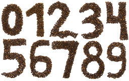 All numbers of coffee beans. All numbers  of coffee beans isolated on white background Stock Image