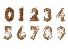 All numbers constructed from little branches Royalty Free Stock Photos