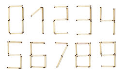 All numbers made of safety match. All numbers  made of safety match  isolated on white background Stock Photography