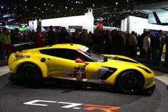 All nya Chevy Corvette på den auto showen Royaltyfria Bilder