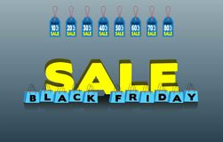 Black friday shopping bags and sales tags. All the objects are in different layers and the text types do not need any font. All the objects are in different royalty free illustration