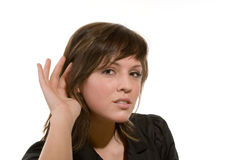 All ok?. Woman with a gesture to listen Stock Photography