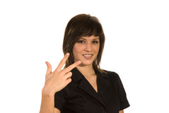 All ok - three fingers. Woman with a gesture all ok Stock Images