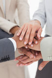 All for one business team. With hands together Royalty Free Stock Photo