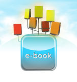 All in one electronic book rack scheme with blue icon Royalty Free Stock Images